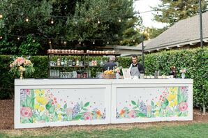 Outdoor Bar with Whimsical Flower Paintings