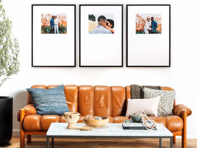 Set of three wedding photo frames