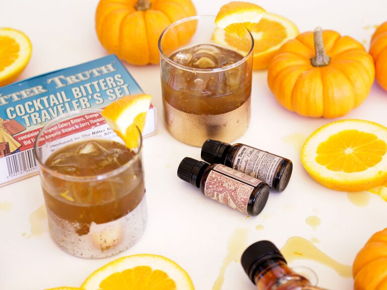 Orange maple whiskey cocktail