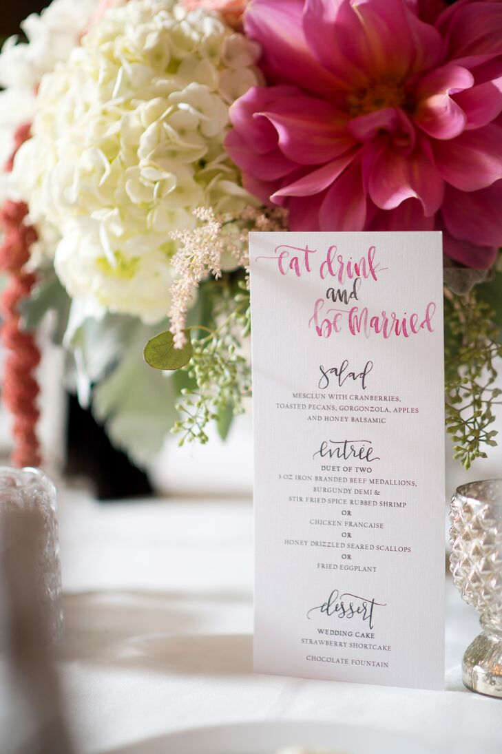 """After the ceremony, the newlyweds and their guests enjoyed a cocktail hour out on the Riverhouse's wraparound porch. They sipped on signature cocktails, like a """"Shady Palmer"""" (vodka, lemonade and iced tea) and """"The Kenzie"""" (a chardonnay spritzer) and nibbled on an inspired array of passed appetizers and freshly made pasta, while taking in the striking river views. They then moved inside for a sit-down dinner of scallops, surf and turf and chicken francaise. """"We went straight into dinner, but with music so that if people wanted to get up and dance, so be it,"""" MacKenzie says. """"We love music and dancing and wanted everyone to have fun."""""""