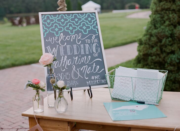 Motifs from Katharine and Nate's wedding invitations, including a mint-and-gold color palette and a graphic print, were included in the decor. A playful pattern on the hand-lettered chalkboard sign greeted guests as they arrived to the ceremony and appeared once again on the escort cards.