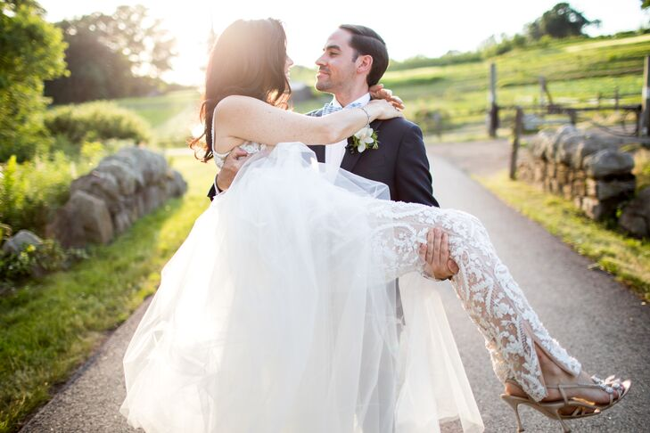 Classic Groom and Modern Bride with White Lace Jumpsuit