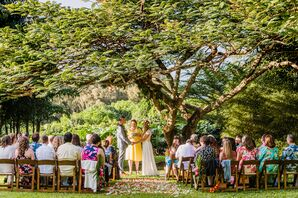 Hawaiian Ceremony with Trees and Flower Petals