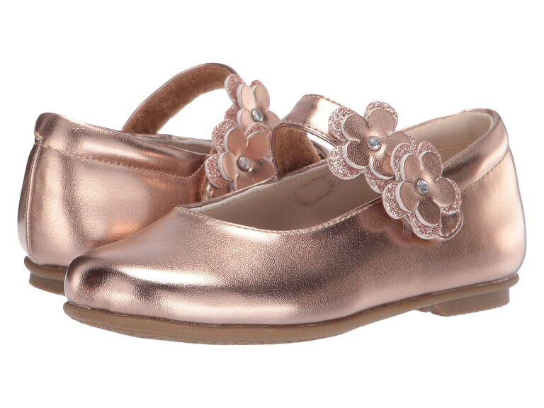 Rose gold flower girl shoes
