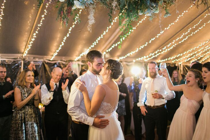 "Jenn and Ethan had their first dance to ""Green Eyes"" by Coldplay. ""Ethan picked it out and the band did a hauntingly beautiful version—it was perfect,"" says Jenn."