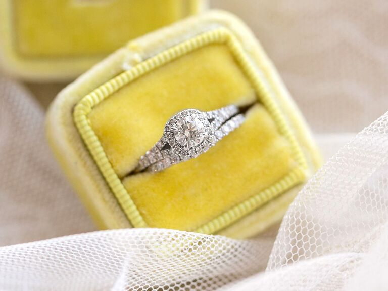 Engagement ring in a yellow box