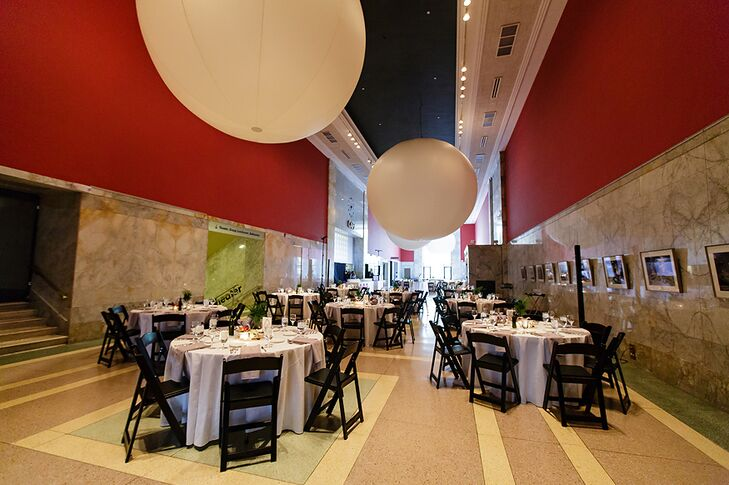 Red Reception Space With White Circular Lights