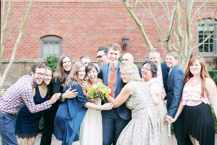 """The couple decided on a color palette of mint, orange and gold based off the dress, flowers and announcements that Megan designed. """"I let those items really dictate where the colors would go and I found it to be a more natural flow to the end result instead of trying to force it from the beginning,"""" says Megan."""