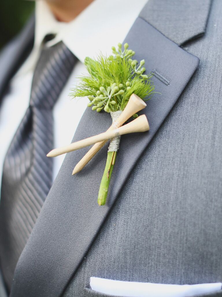 Golf tee groom boutonniere