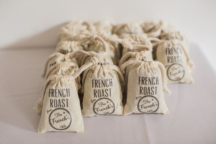 Amber ironed her custom design onto muslin bags filled with French roast coffee beans, chosen as a tribute to her new last name.