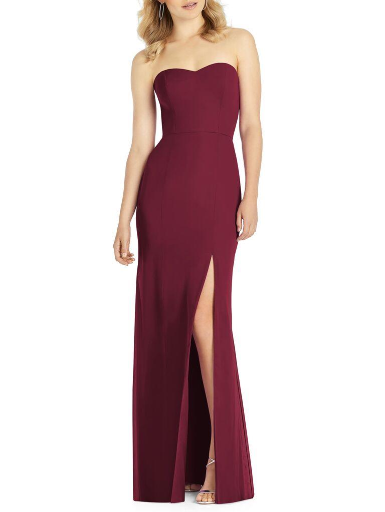 Red strapless winter wedding guest dress