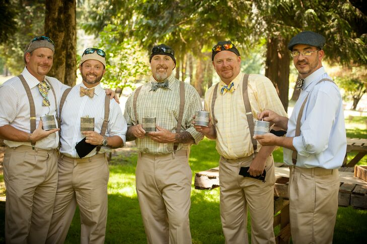 Groom with Groomsmen Wearing Suspenders