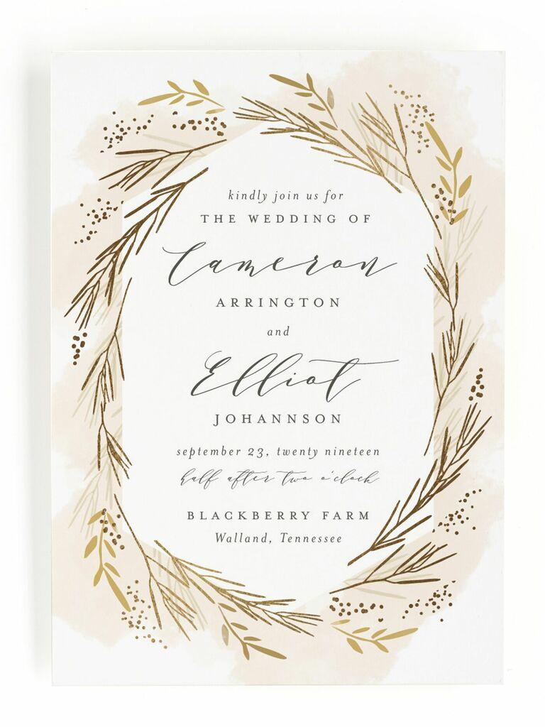 Wheat motif rustic wedding invitation