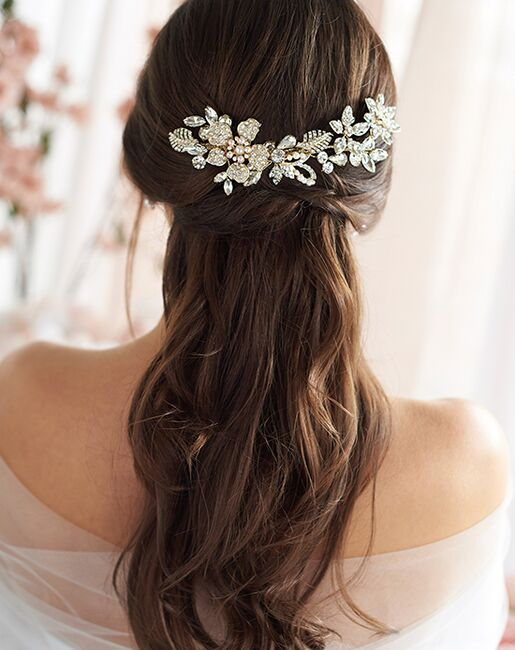Dareth Colburn Lily Floral Wedding Comb (TC-2434) Gold, Silver Pins, Combs + Clip