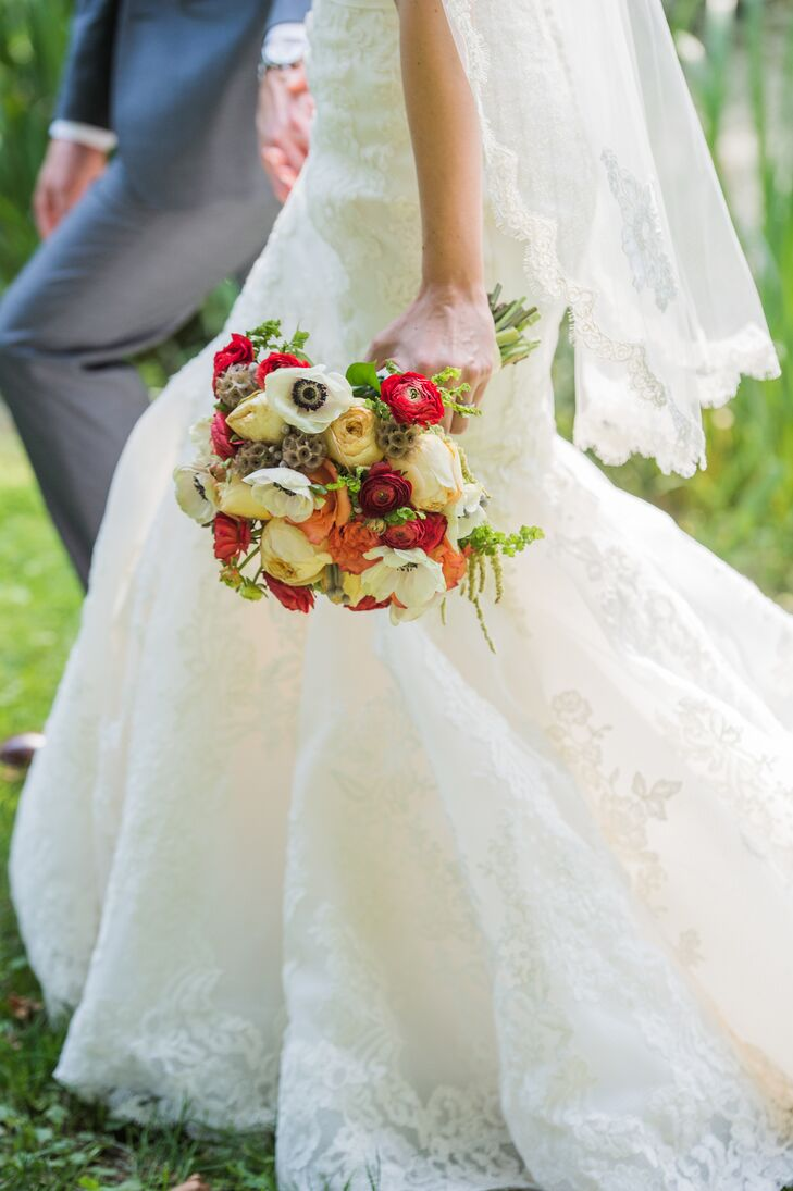 Bride Carrying Colorful Floral Bouquet