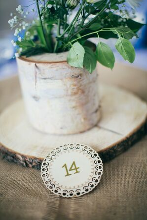 Birch Wood Centerpiece with Table Number