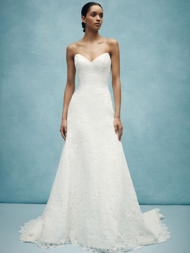 Anne Barge Spring 2020 Bridal Collection strapless sweetheat wedding dress with all-over lace
