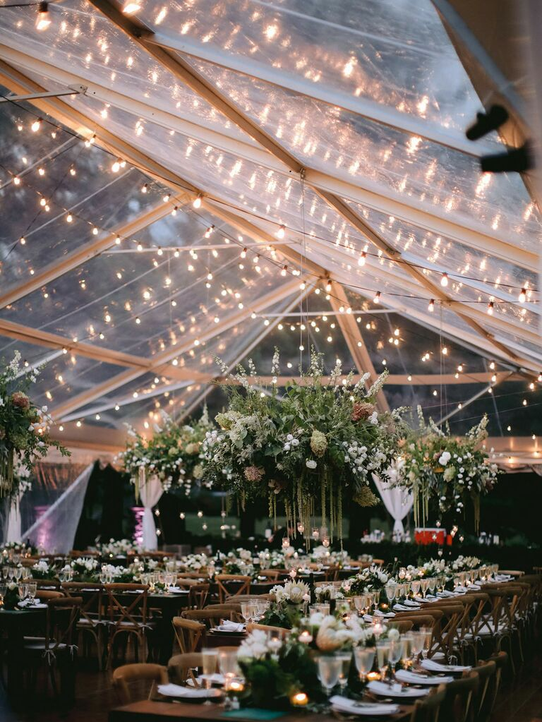 Clear top wedding tent with string lights