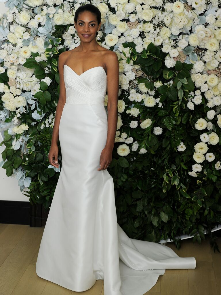 a2c5d1b350f Anne Barge Spring 2019 Collection trumpet wedding dress of silk satin  chiffon
