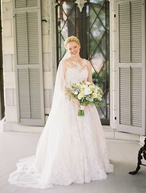 Classic Bride in Gown with Lace Appliques