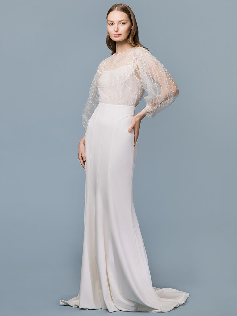 EDEM Demi Couture sheath wedding dress with sheer embroidered overlay
