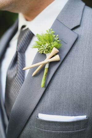 Eucalyptus and Golf Tee Boutonniere