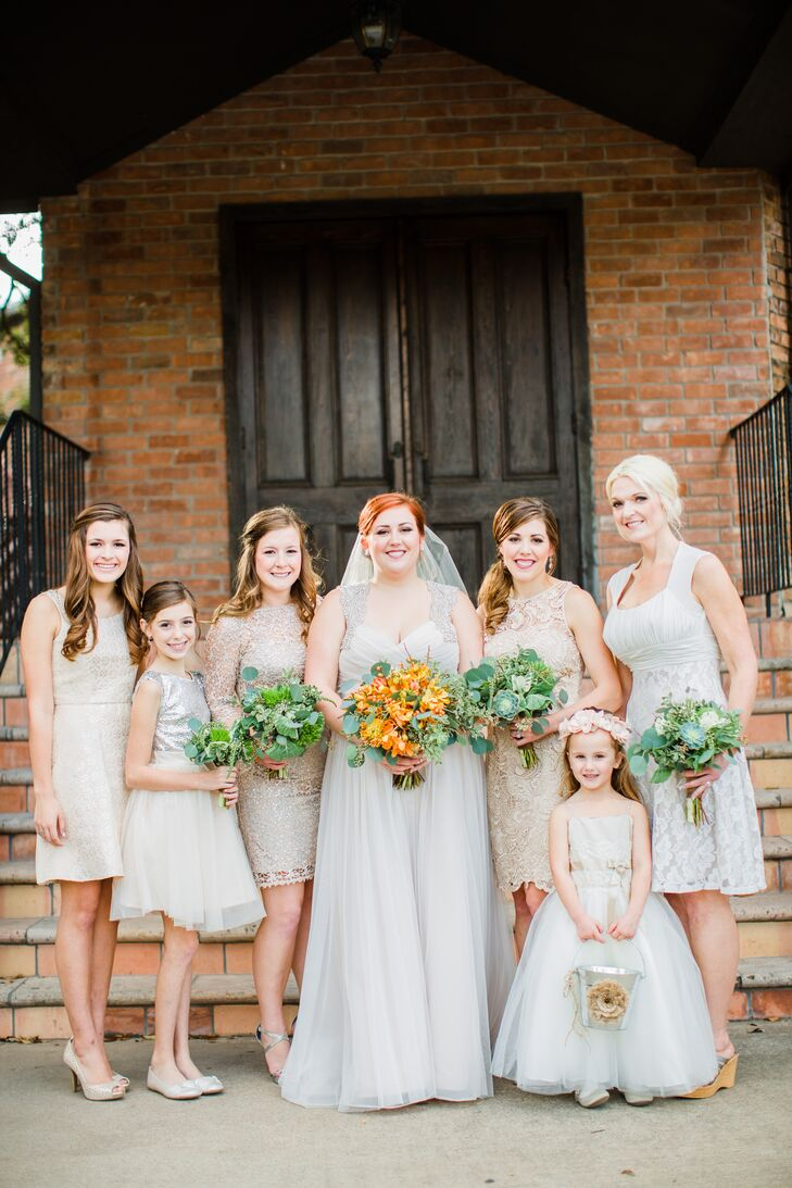 """Alison's bridesmaids all wore beautiful neutral, cocktail-length dresses with neutral shoes. """"I wanted them all to wear something that made them feel good and that they would wear again,"""" Alison says."""