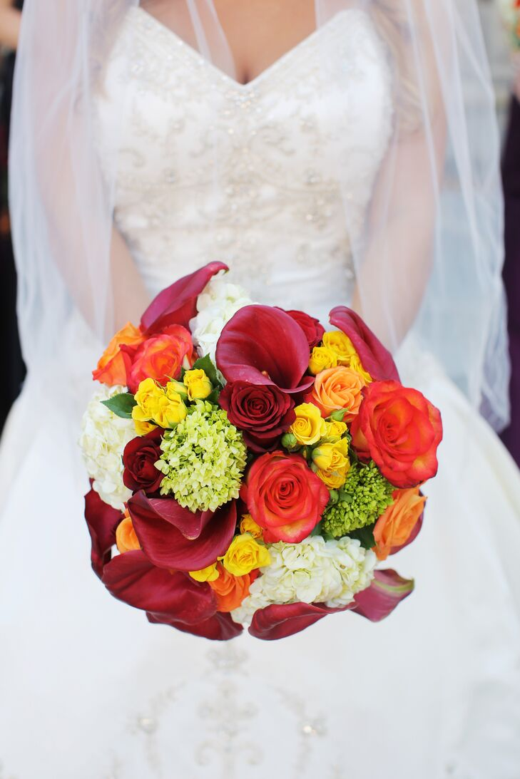 Colorful Calla Lily And Rose Bouquet