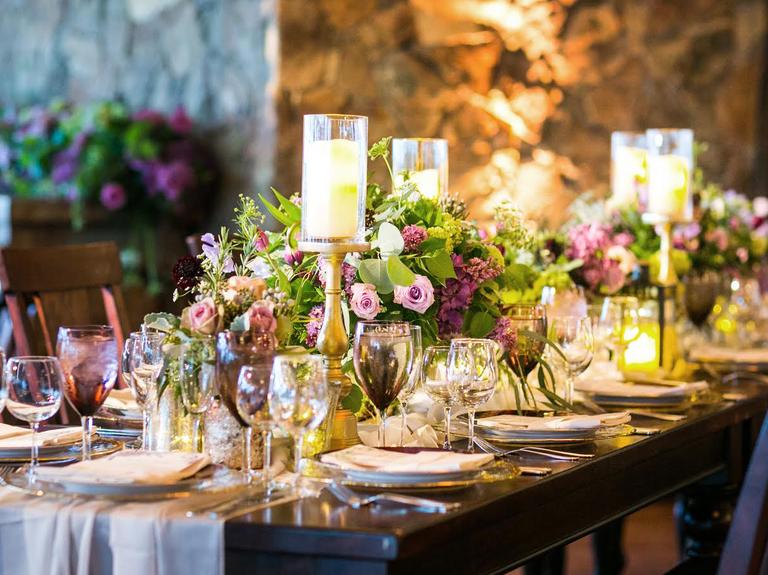 romantic wedding reception tables