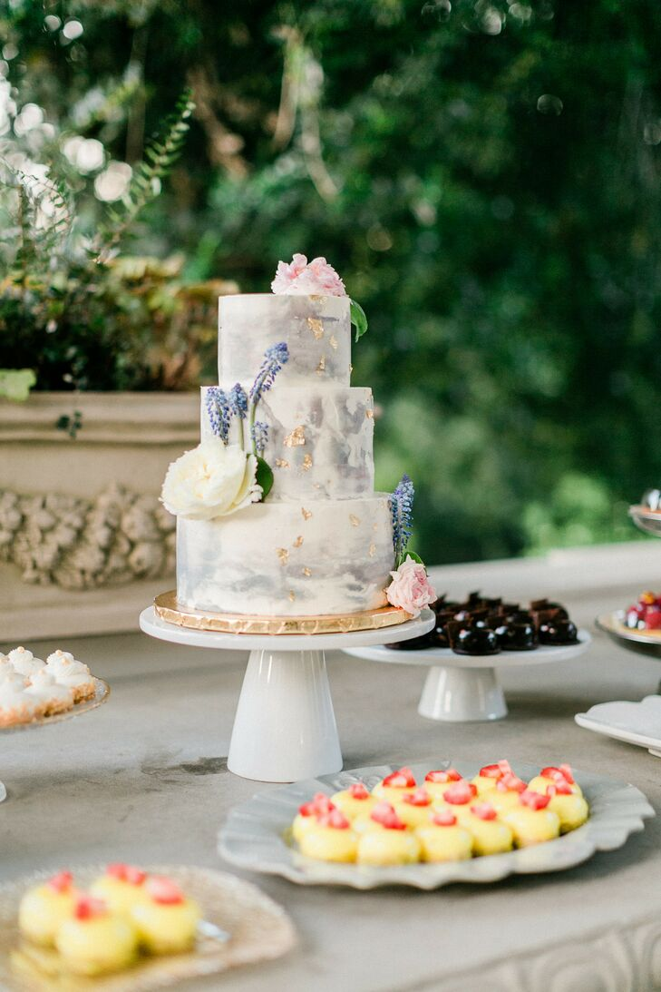 Hand-Painted Cake for Wedding at Montalvo Arts Center in Saratoga, California