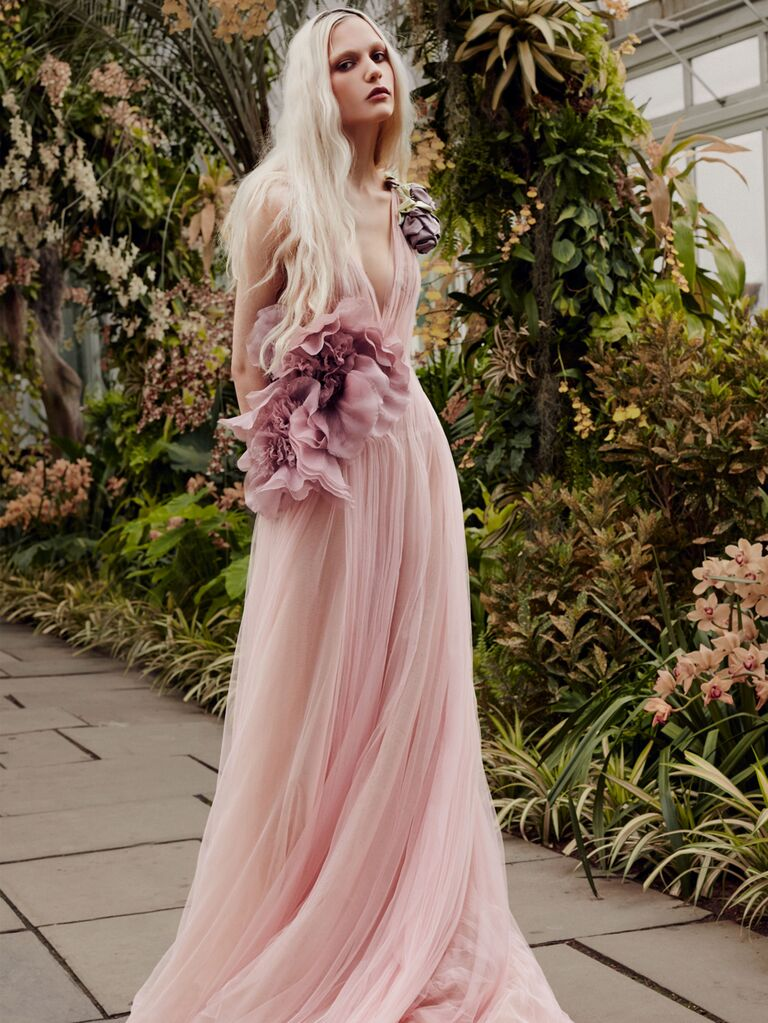 Vera Wang Spring 2020 Bridal Collection blush asymmetrical wedding dress with oversize florals