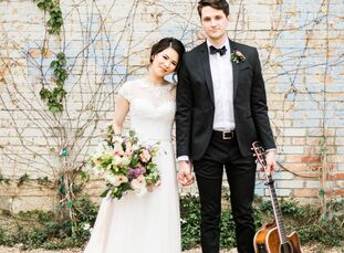 High school sweethearts Victoria Tran (25 and a science teacher) and Will Wood (25 and a music teacher) filled their industrial venue with simple, neu