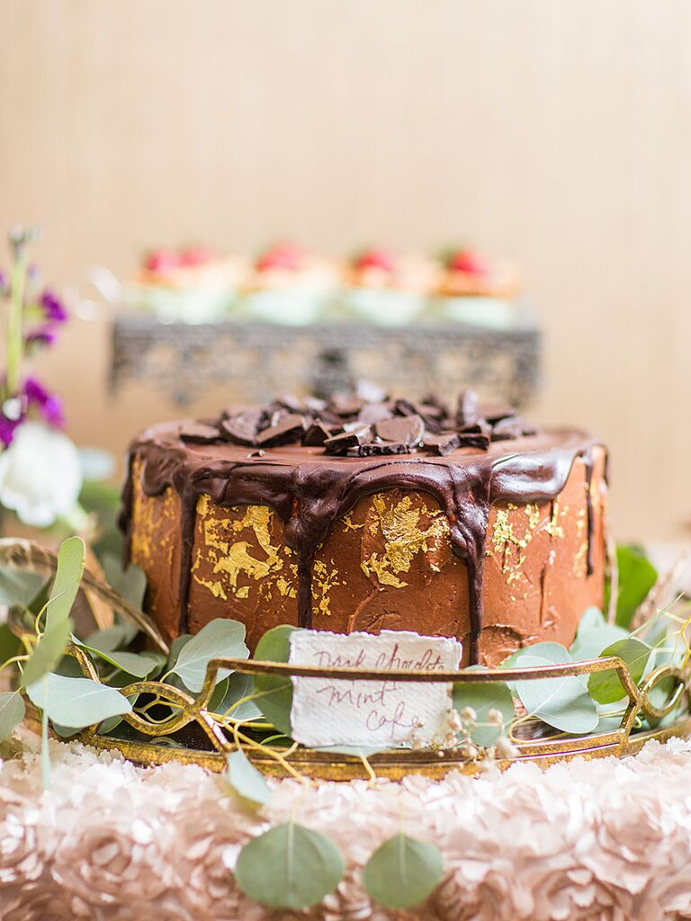 Drip design wedding cake with a dark chocolate mint flavor