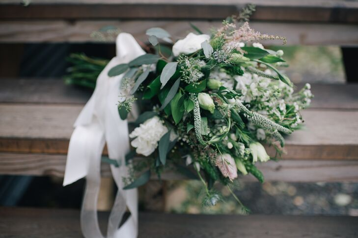 Veronica, Astilbe and Tulip Bouquet with Cascading Ribbons