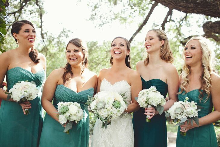 All of the bridesmaids wore the same Amsale dress, but the maid of honor stood apart in a slightly darker shade of green.
