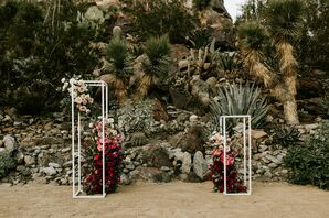 Desert Ceremony with Cacti, Stones and Red Flower Pillars