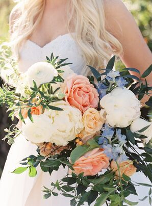 Large, Garden-Fresh Bridal Bouquet in Peach, Blue and Ivory