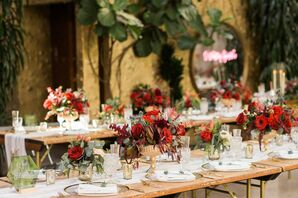 Rustic Dining Tables with Red and Gold Centerpieces