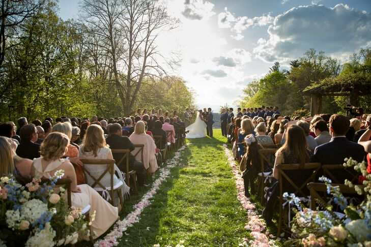 Biltmore Estate Outdoor Ceremony Aisle Lined with Petals