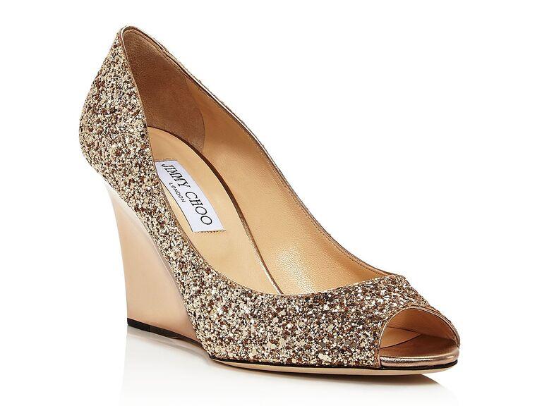 Jimmy Choo Baxen peep-toe wedge heel pumps in Goldie