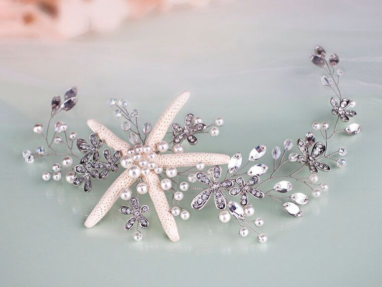 Starfish and pearl themed bridal headband