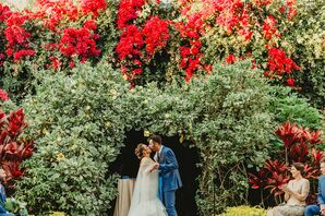 Natural Ceremony with Bougainvillea and Tropical Greenery