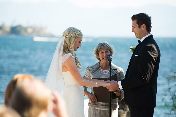 The couple exchanged their vows on the deck of Sooke Harbour House in Sooke, British Columbia, surrounded by flowers in the garden and overlooking the Pacific Ocean.