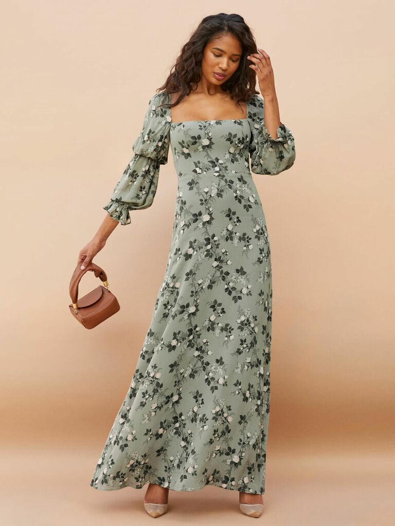 Reformation maxi dress with bishop sleeves and green floral print
