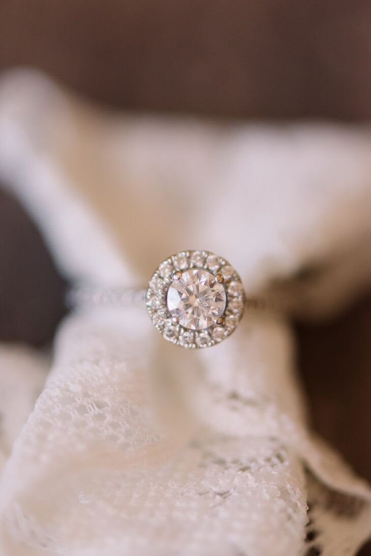 """Emma and Haleigh picked out their engagement rings together. """"A week after browsing, Haleigh went back to get the set for me,"""" Emma says. """"After being engaged for about a day, Haleigh politely asked, 'So when do I get mine?' """" The couple then returned to the jewelry store and picked out Haleigh's engagement ring."""