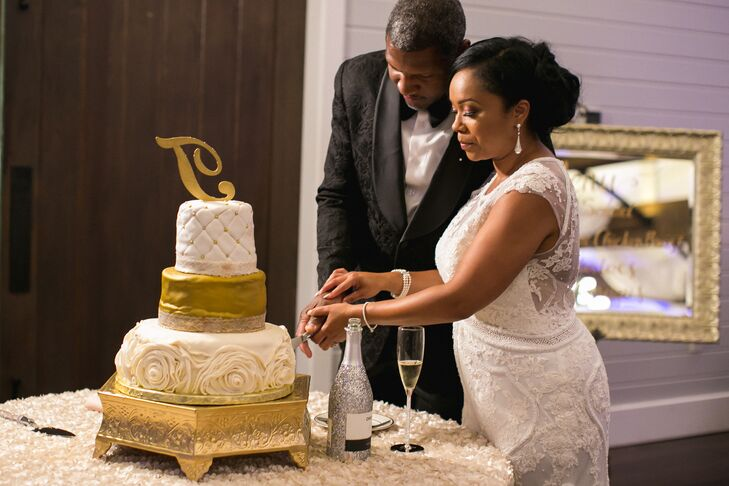 Gold Painted and Rosette-Accented Wedding Cake