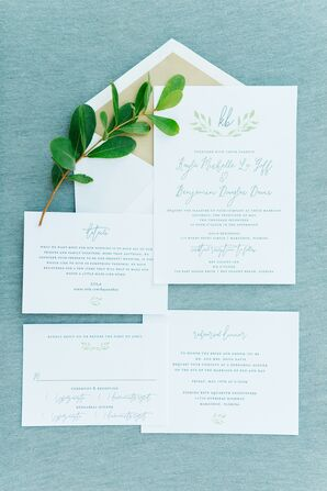 White-and-Green Invites