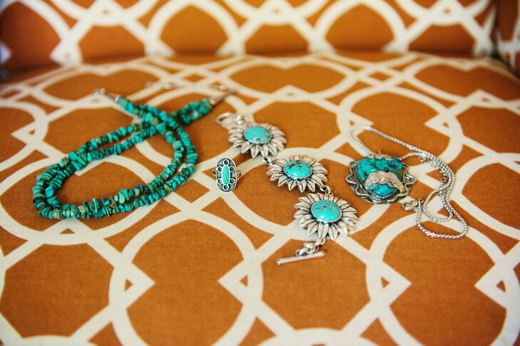 The bride accessorized her bohemian chic look with two turquoise necklaces, a ring made by her grandmother's brother and a bracelet from Lucky Jeans.