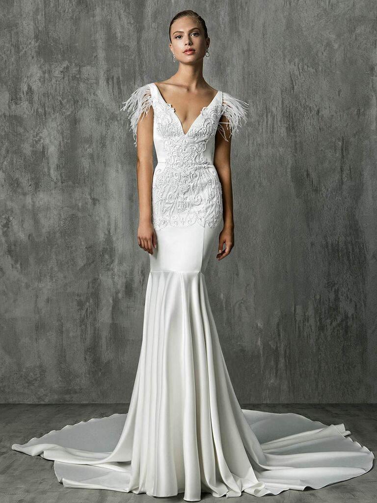Victoria Kyriakides Fall 2018 wedding dresses with fluttery feather sleeves