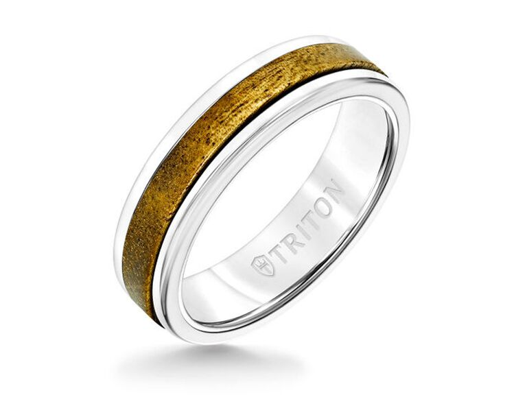 Triton white tungsten carbide ring with wood insert